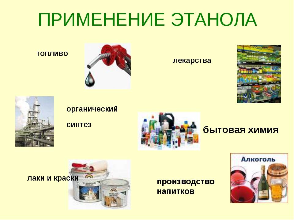 ПРИМЕНЕНИЕ ЭТАНОЛА топливо органический синтез лаки и краски лекарства бытова...