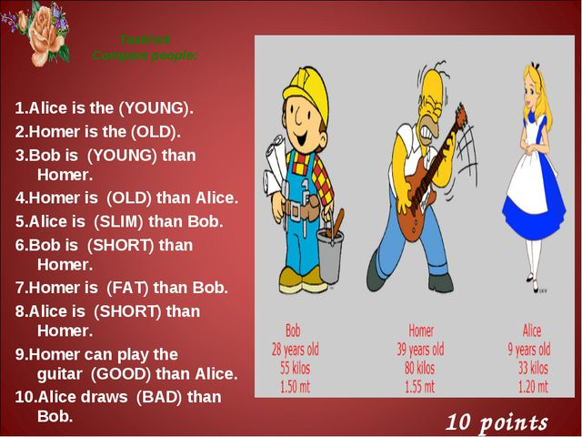 Task№6 Compare people: 1.Alice is the (YOUNG). 2.Homer is the (OLD). 3.Bob is...