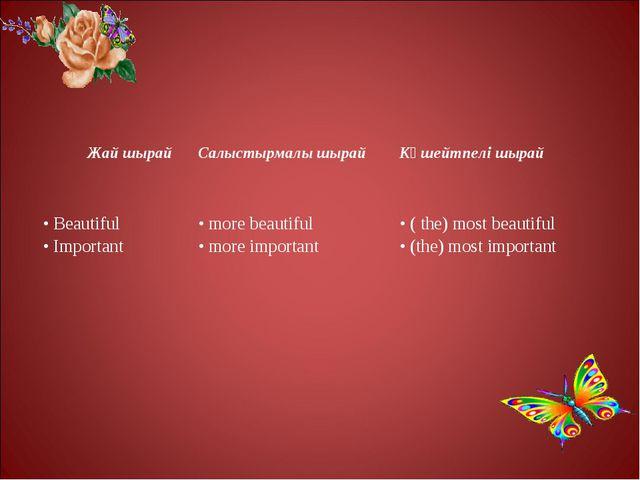Жай шырайСалыстырмалы шырайКүшейтпелі шырай • Beautiful • Important• more...