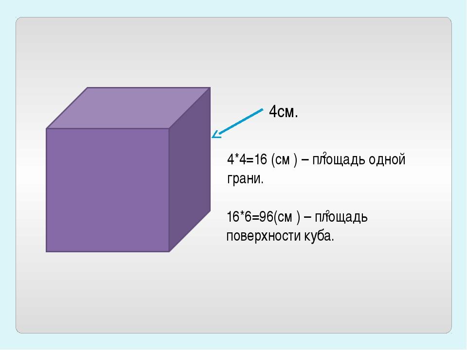 4см. 4*4=16 (см ) – площадь одной грани. 2 16*6=96(см ) – площадь поверхности...