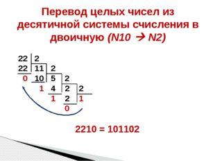 Перевод целых чисел из десятичной системы счисления в двоичную (N10  N2) 22