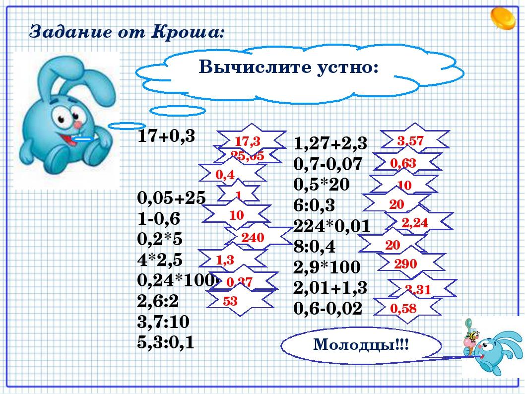 Вычислите устно: 17+0,3 0,05+25 1-0,6 0,2*5 4*2,5 0,24*1000 2,6:2 3,7:10 5,3:...