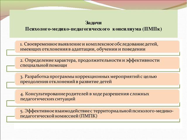 Задачи Психолого-медико-педагогического консилиума (ПМПк)