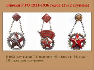 Значки ГТО 1931-1936 годов (1 и 2 ступень) В 1932 году значки ГТО получили 46