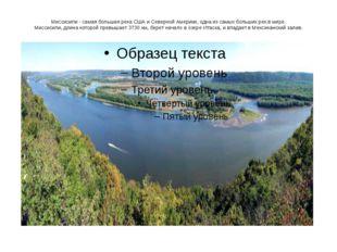 Миссисипи - самая большая река США и Северной Америки, одна из самых больших