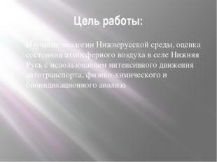 Цель работы: Изучение экологии Нижнерусской среды, оценка состояния атмосферн