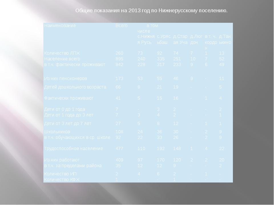 Общие показания на 2013 год по Нижнерусскому поселению. Наименование Всего в...