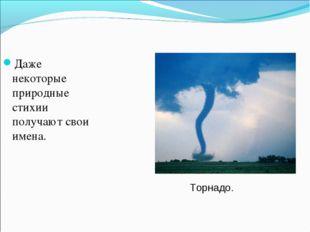 Даже некоторые природные стихии получают свои имена. Торнадо.