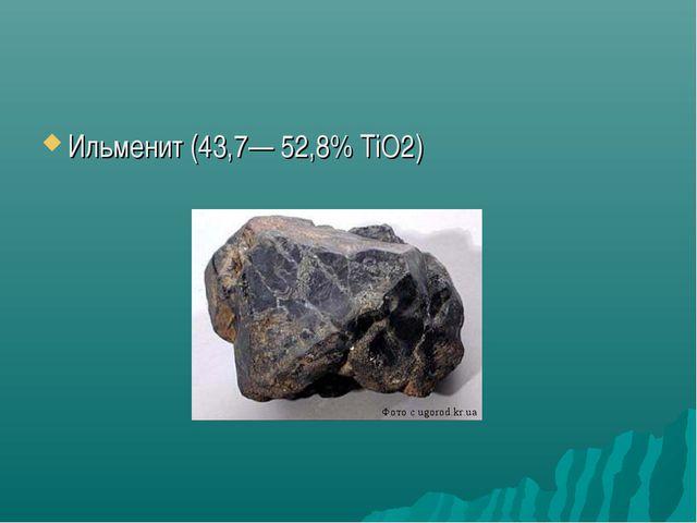 Ильменит (43,7— 52,8% TiO2)