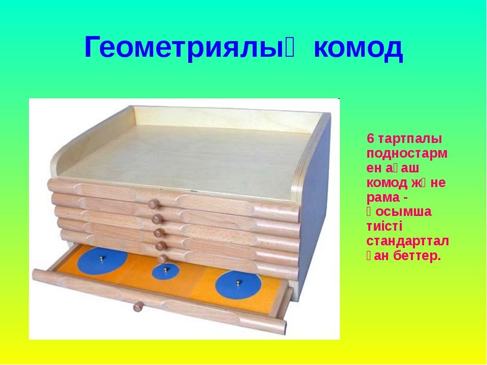 Геометриялық комод 6 тартпалы подностармен ағаш комод және рама - қосымша тиі...