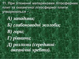 А) западини; Б) глибоководні жолоби; В) гори; Г) рівнини; Д) розломи (середин