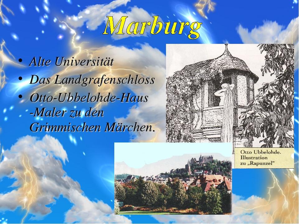 Alte Universität Das Landgrafenschloss Otto-Ubbelohde-Haus -Maler zu den Grim...