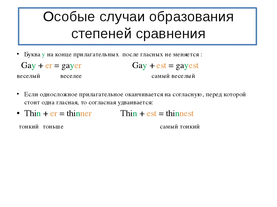 Особые случаи образования степеней сравнения Буква у на конце прилагательных...