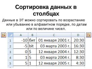 Сортировка данных в столбцах Данные в ЭТ можно сортировать по возрастанию или