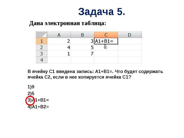 Дана электронная таблица: В ячейку С1 введена запись: А1+В1=. Что будет соде...