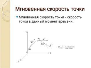 Мгновенная скорость точки Мгновенная скорость точки - скорость точки в данный