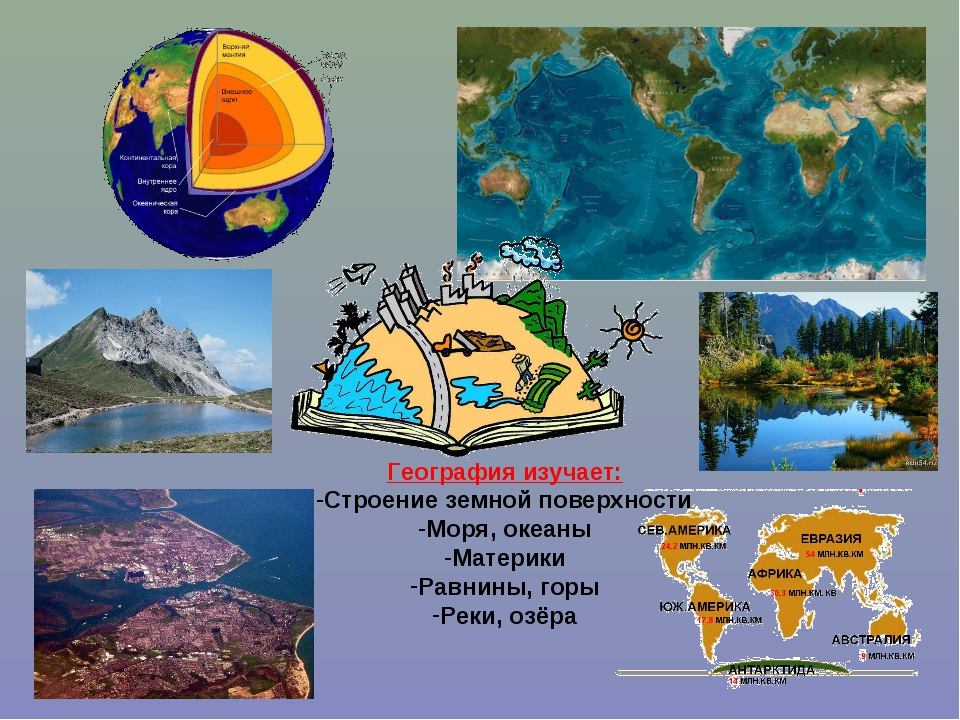 География изучает: Строение земной поверхности Моря, океаны Материки Равнины,...