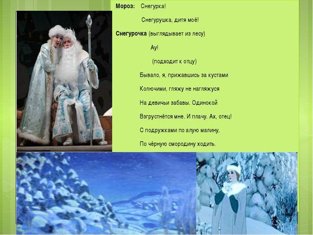 Мороз: Снегурка! Снегурушка, дитя моё! Снегурочка (выглядывает из лесу) Ау! (...