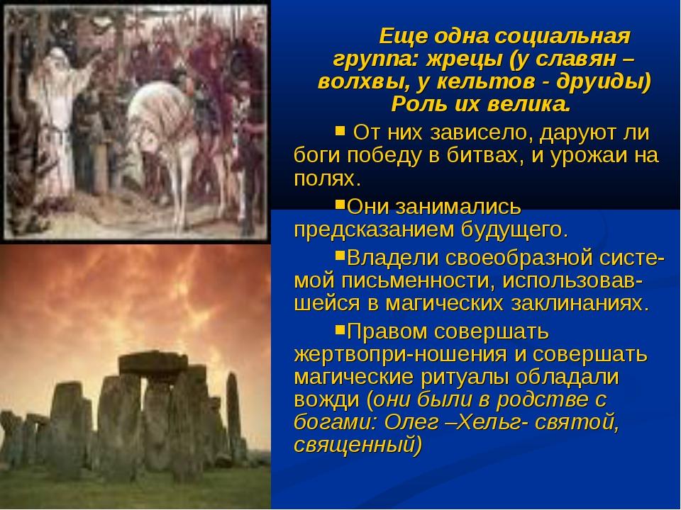Еще одна социальная группа: жрецы (у славян – волхвы, у кельтов - друиды) Рол...