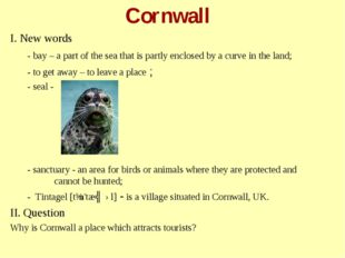 Cornwall I. New words - bay – a part of the sea that is partly enclosed by a