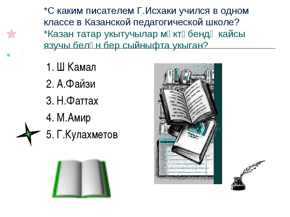 *С каким писателем Г.Исхаки учился в одном классе в Казанской педагогической...
