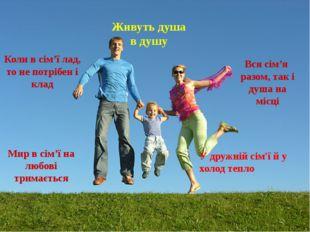 Вся сім'я разом, так і душа на місці Коли в сім'ї лад, то не потрібен і клад