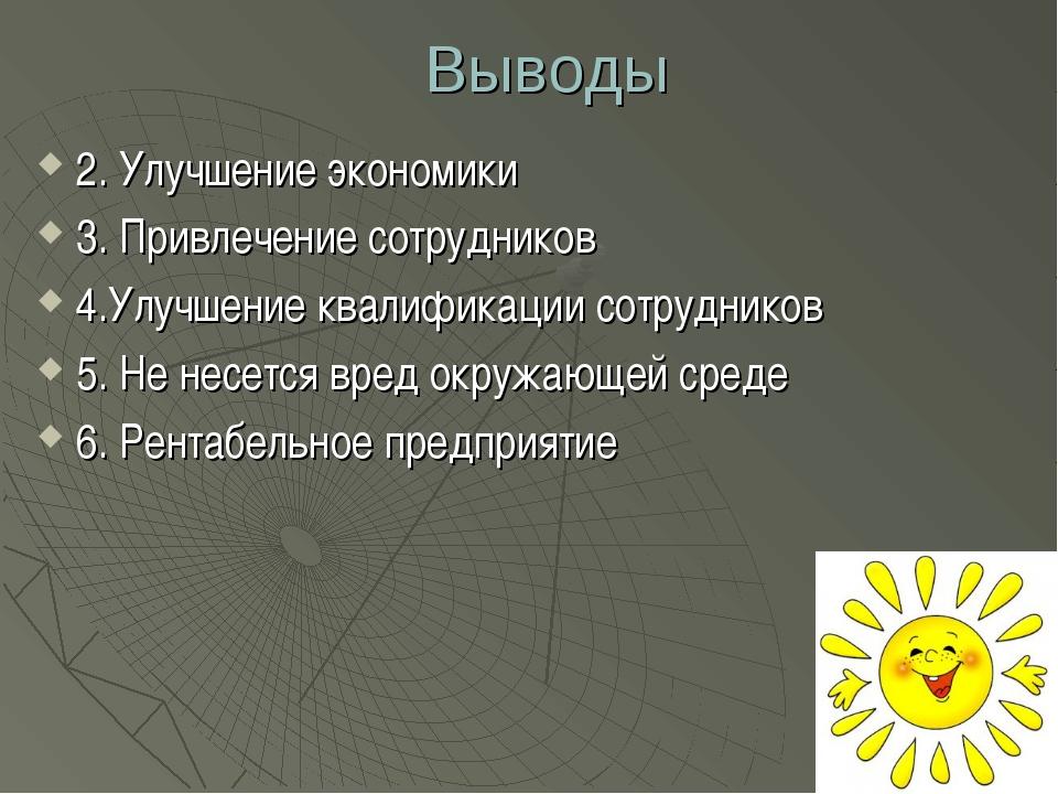 Выводы 2. Улучшение экономики 3. Привлечение сотрудников 4.Улучшение квалифик...