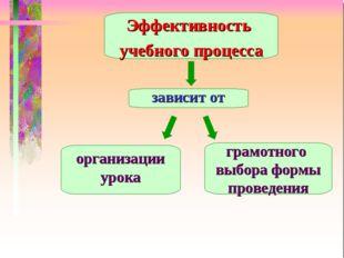 Эффективность учебного процесса зависит от организации урока грамотного выбо