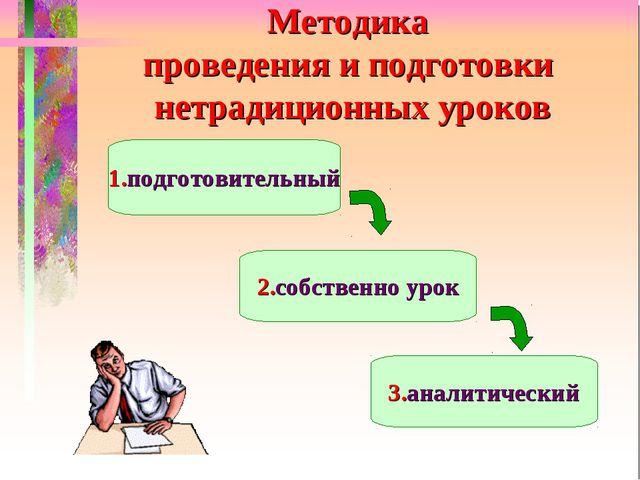 Методика проведения и подготовки нетрадиционных уроков 1.подготовительный 2.с...