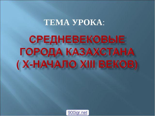 ТЕМА УРОКА: 900igr.net