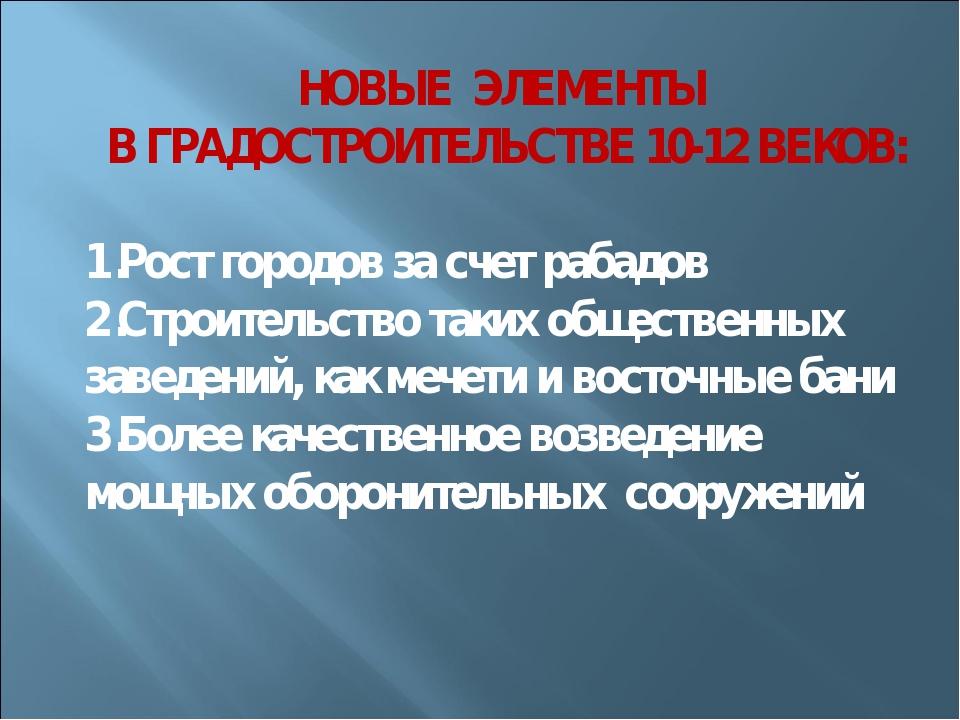 НОВЫЕ ЭЛЕМЕНТЫ В ГРАДОСТРОИТЕЛЬСТВЕ 10-12 ВЕКОВ: Рост городов за счет рабадов...