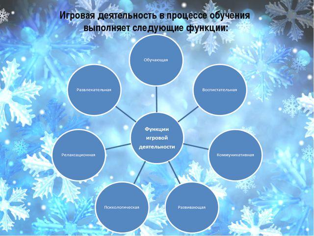 Игровая деятельность в процессе обучения выполняет следующие функции:
