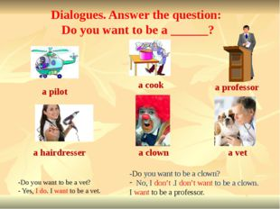 a cook a professor a hairdresser a clown a vet -Do you want to be a vet? - Ye