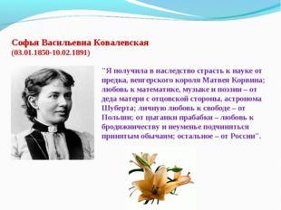 """Софья Васильевна Ковалевская (03.01.1850-10.02.1891) """"Я получила в наследств"""