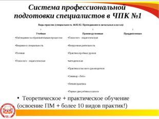 Система профессиональной подготовки специалистов в ЧПК №1 Теоретическое + пра