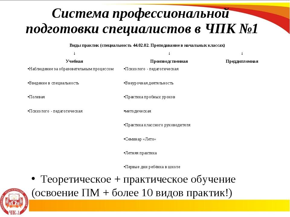 Система профессиональной подготовки специалистов в ЧПК №1 Теоретическое + пра...