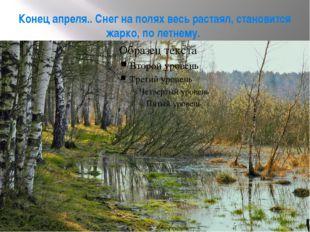 Конец апреля.. Снег на полях весь растаял, становится жарко, по летнему.