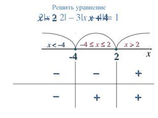 2 x < –4 –4 ≤ x ≤ 2 x > 2 Решить уравнение 2|x – 2| – 3|х + 4| = 1 -4 х x – 2