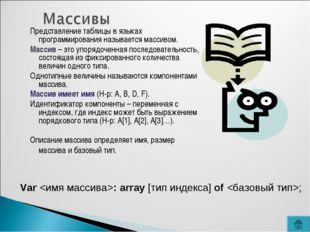 Представление таблицы в языках программирования называется массивом. Массив –