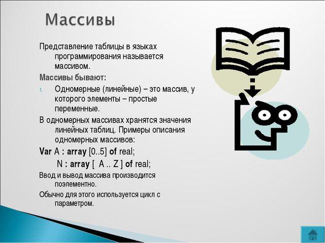 Представление таблицы в языках программирования называется массивом. Массивы...