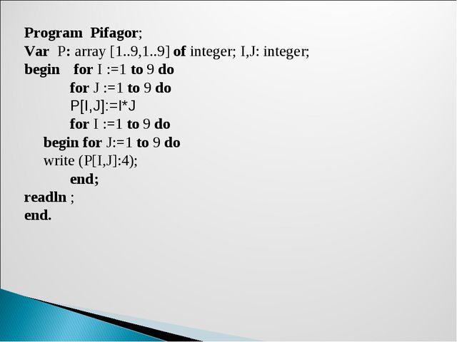 Program Pifagor; Var P: array [1..9,1..9] of integer; I,J: integer; begin  f...