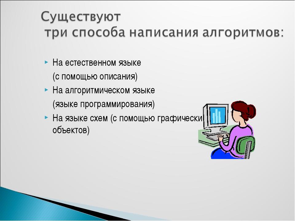 На естественном языке (с помощью описания) На алгоритмическом языке (языке...
