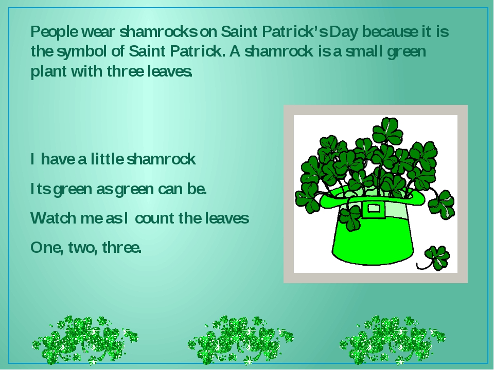 People wear shamrocks on Saint Patrick's Day because it is the symbol of Sain...