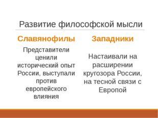 Развитие философской мысли Славянофилы Представители ценили исторический опы