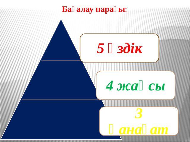 Бағалау парағы: 5 үздік 4 жақсы 3 қанағат