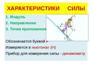 ХАРАКТЕРИСТИКИ СИЛЫ 1. Модуль 2. Направление 3. Точка приложения Обозначается