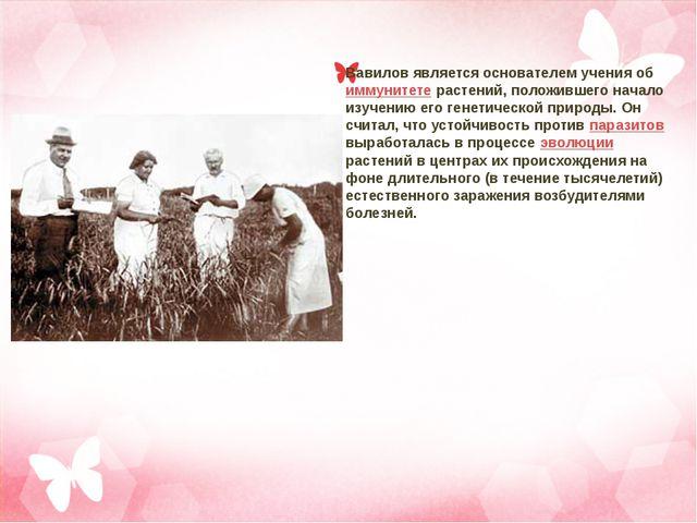Вавилов является основателем учения об иммунитете растений, положившего начал...