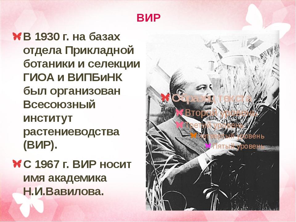 ВИР В 1930 г. на базах отдела Прикладной ботаники и селекции ГИОА и ВИПБиНК б...
