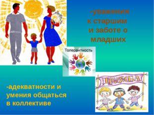 -уважения кстаршим и заботе о младших -адекватности и умения общаться вкол