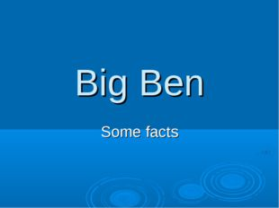Big Ben Some facts